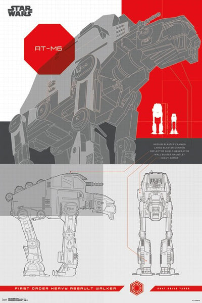 Star Wars AT-M6 First Order Heavy Assault Walker by Kuat Drive Yards Feature Sheet 24x36 Poster (Ep. 8 - 2017)