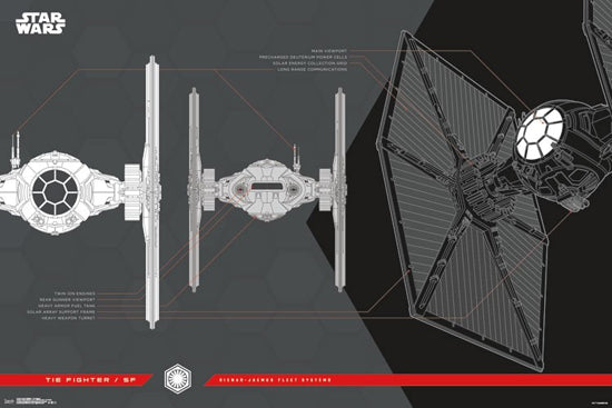 Star Wars Tie Fighter SF by Sienar-Jaemus Fleet Systems Feature Sheet 24x36 Poster (Ep. 8 - 2017)