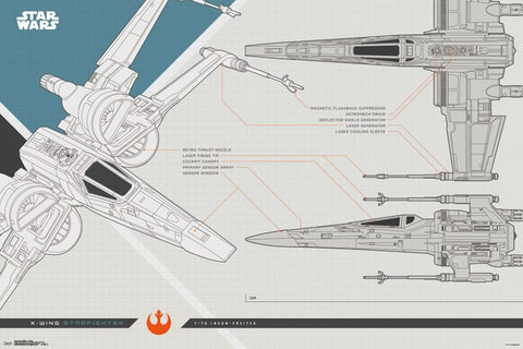 Star Wars X-Wing Starfighter T-70 Incom-Freitek Feature Sheet 24x36 Poster (Ep. 8 - 2017)