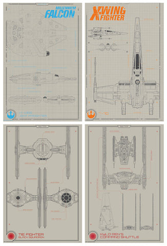 Star Wars Episode VII The Force Awakens Blueprints 4-Poster Collector's Set - Trends 2015