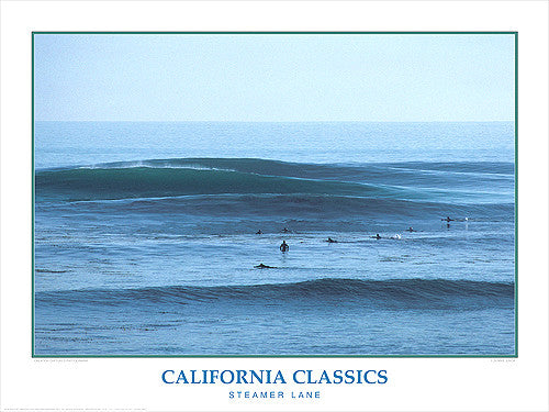 "Surfing ""Steamer Lane Surf"" California Classics Poster Print - Creation Captured"