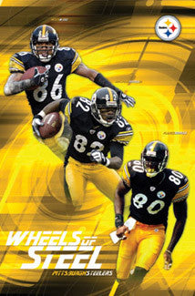 "Pittsburgh Steelers ""Wheels of Steel"" Poster (Hines Ward, Randle El, Burress) - Costacos 2003"