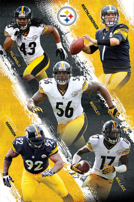 "Pittsburgh Steelers ""Super Five"" (2012) NFL Action Poster - Costacos Sports"