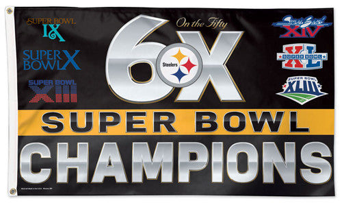 Pittsburgh Steelers 6-Time Super Bowl Champions Giant Historical Deluxe 3'x5' FLAG - Wincraft