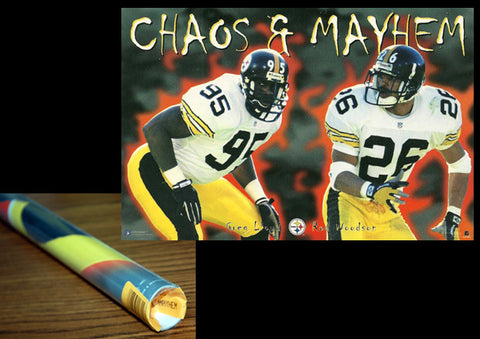 "Pittsburgh Steelers ""Chaos and Mayhem"" Poster (Greg Lloyd, Rod Woodson) - Costacos Brothers 1996"