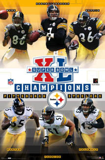 Pittsburgh Steelers Super Bowl XL (2006) Champions 6-Player Commemorative Poster - Costacos Sports