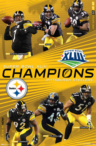 Pittsburgh Steelers Super Bowl XLIII (2009) Champions Commemorative Poster - Costacos