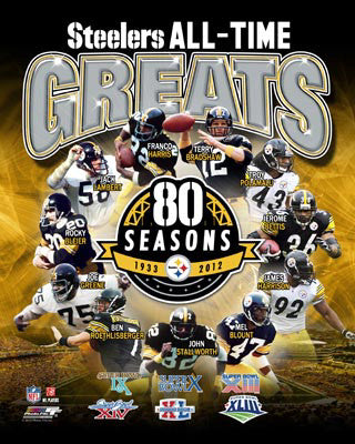"Pittsburgh Steelers  ""All-Time Greats"" (11 Legends, 6 Super Bowls) Premium Print - Photofile Inc."