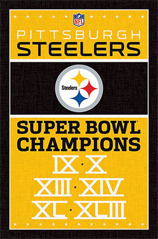 Pittsburgh Steelers 6-Time NFL Super Bowl Champions Commemorative Wall Poster - Costacos