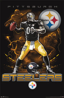 "Pittsburgh Steelers ""On Fire"" NFL Theme Art Poster - Costacos Sports"