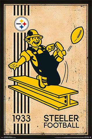 Pittsburgh Steelers NFL Heritage Series Official Retro Logo Team Poster - Costacos Sports