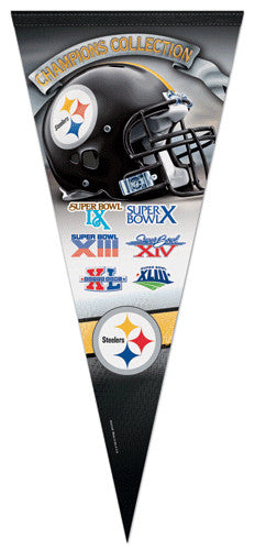 Pittsburgh Steelers 6-Time Super Bowl Champions EXTRA-LARGE Premium Pennant
