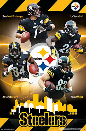 "Pittsburgh Steelers ""Steeltown"" NFL 4-Player Action Poster (Roethlisberger, Bell, ++) - Trends 2015"