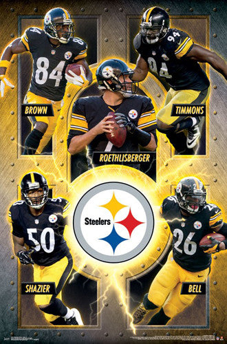 "Pittsburgh Steelers ""Superstars 2016"" 5-Player NFL Action Poster - Trends International"