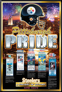 "Pittsburgh Steelers ""History of Victory"" First 5 Super Bowl Championships Poster - A.I."