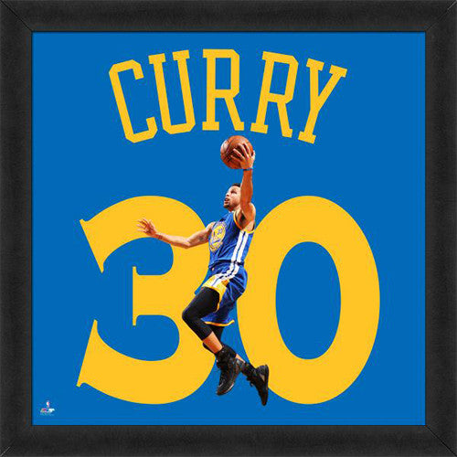 "Stephen Curry ""Number 30 in Blue"" Golden State Warriors NBA FRAMED 20x20 UNIFRAME PRINT - Photofile"