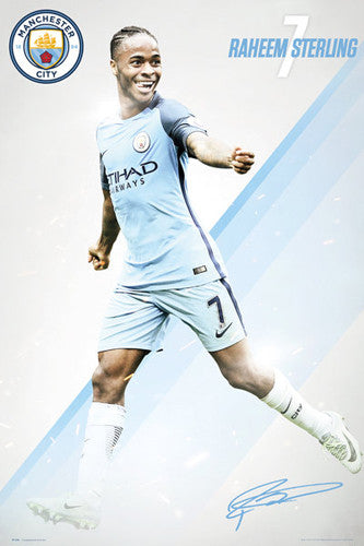 "Raheem Sterling ""Signature Series"" Manchester City FC Official EPL Football Poster - GB Eye 2016/17"