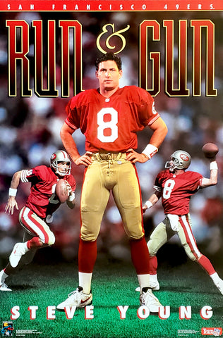 "Steve Young ""Run and Gun"" San Francisco 49ers NFL Football Poster - Costacos Brothers 1993"
