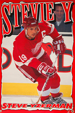 "Steve Yzerman ""Stevie Y"" Detroit Red Wings NHL Action Poster - Norman James Corp. 1995"