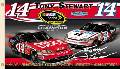 Tony Stewart 2011 NASCAR Sprint Cup Champ Premium 3'x5' Flag - BSI Products