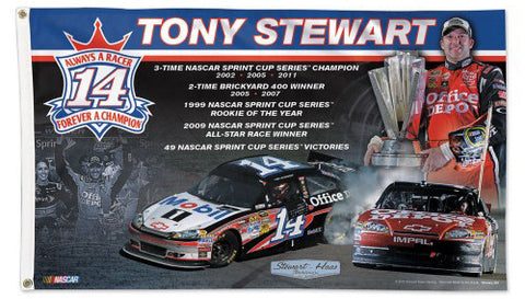 "Tony Stewart ""Forever a Champion"" NASCAR Final Season Huge 3' x 5' Deluxe FLAG - Wincraft 2016"