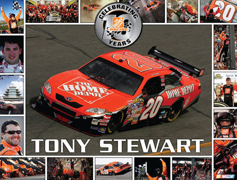 "Tony Stewart ""Ten Years"" (1999-2008) NASCAR Poster - Time Factory"