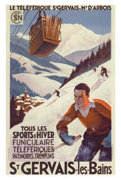 "Vintage Skiing ""St Gervais-les-Bains"" c.1932 Poster Reprint - Editions Clouets"