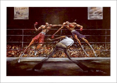 "Boxing Action ""Stick And Move"" Art Poster Print - Frank Morrison 2003"