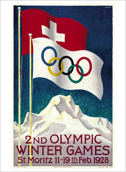 St. Moritz 1928 Winter Olympic Games Official Poster Reproduction - Olympic Museum