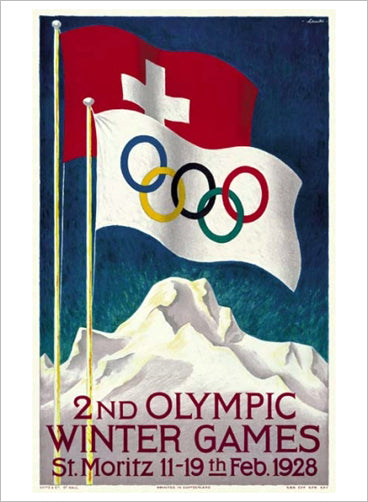 St. Moritz 1928 Winter Olympic Games Official Poster Reprint - Olympic Museum