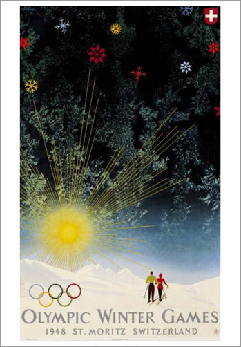 St. Moritz 1948 Winter Olympic Games Official Poster Reprint - Olympic Museum