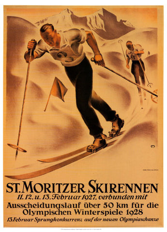 "Skiing ""St. Moritzer Skirennen"" Vintage 1927 Poster Reprint - AAC"