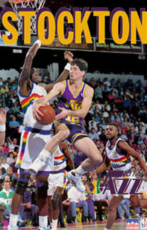 "John Stockton ""Classic"" Utah Jazz NBA Action Poster - Starline Inc. 1992"