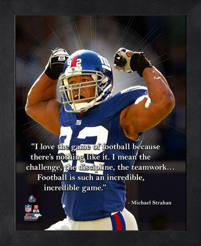 "Michael Strahan ""The Incredible Game"" New York Giants FRAMED 16x20 PRO QUOTES PRINT - Photofile"