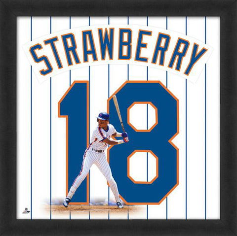 "Darryl Strawberry ""Number 18"" New York Mets MLB FRAMED 20x20 UNIFRAME PRINT - Photofile"