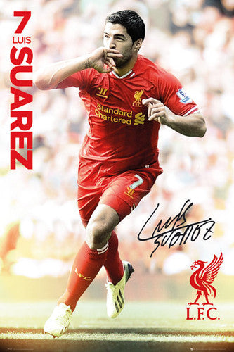 "Luis Suarez ""Signature"" Liverpool FC Soccer Action Poster - GB Eye (UK)"
