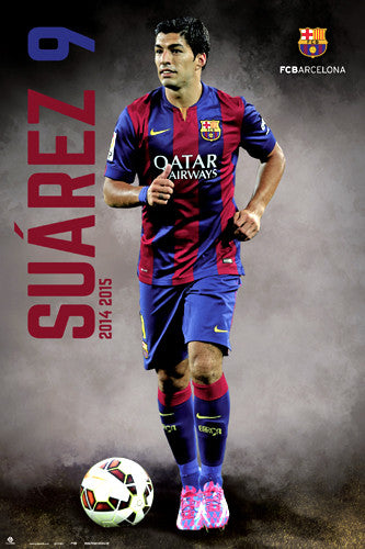 "Luis Suarez ""Breakout"" FC Barcelona Official La Liga Soccer Action Poster - G.E. (Spain)"