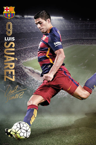 "Luis Suarez ""Game Night"" FC Barcelona Signature Series Official Poster - GB Eye 2015/16"