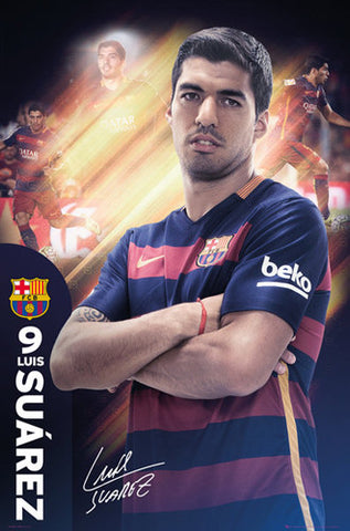"Luis Suarez ""The One"" FC Barcelona Signature Series Official Poster - GB Eye 2015/16"