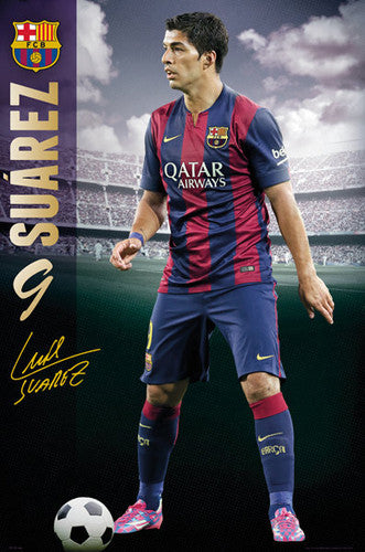 "Luis Suarez ""Signature Series"" FC Barcelona Soccer Superstar Poster - GB Eye 2015"