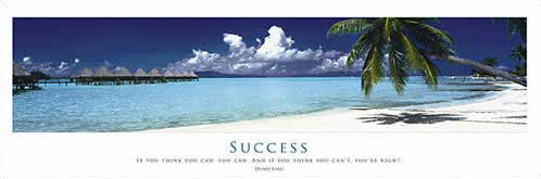 "Tropical Paradise ""Success"" Motivational Poster (Tropical Beach Paradise Panorama)"