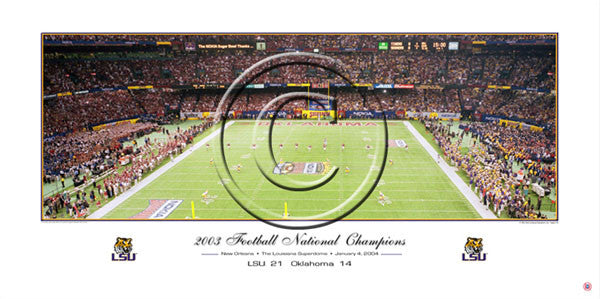 LSU Tigers Football 2003 National Champions Panoramic Poster Print - Rick Anderson