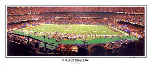 Auburn Tigers vs. Virginia Tech Hokies 2004 Sugar Bowl (Jan. 3, 2005) Panoramic Poster Print - SPI