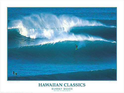 "Surfing ""Sunset Beach"" Hawaiian Classics Poster Print - Creation Captured"
