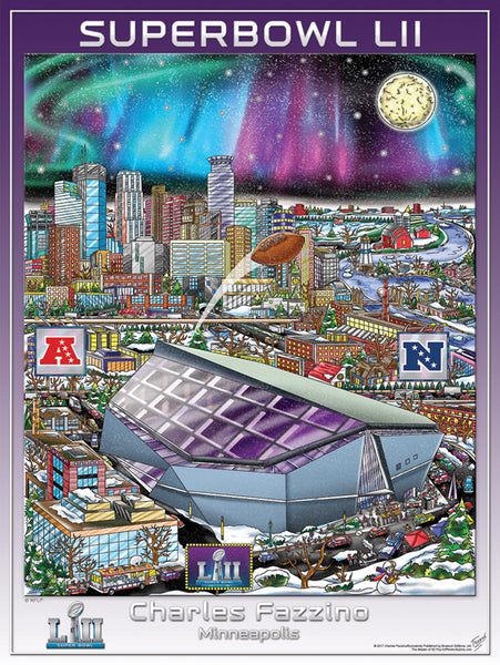 *SHIPS 12/5* Super Bowl LII (Minneapolis 2018) Official Commemorative Pop Art Poster - Fazzino