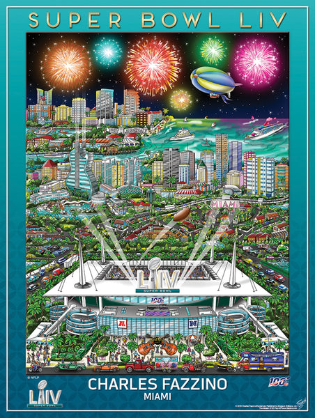 Super Bowl LIV (Miami 2020) Official NFL Football Commemorative Pop Art Poster - Fazzino