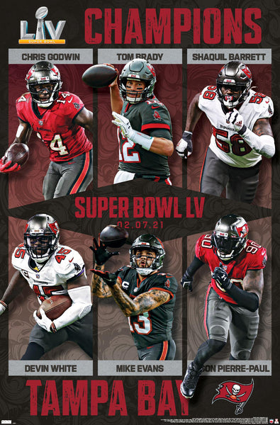 Tampa Bay Buccaneers Super Bowl LV CHAMPIONS 6-Player Commemorative Poster - Trends 2021