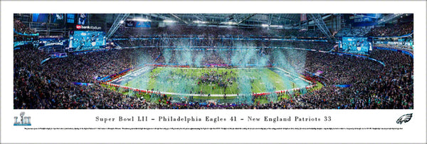 *SHIPS 2/16* Philadelphia Eagles Super Bowl LII (2018) Champions Panoramic Poster Print - Blakeway Worldwide