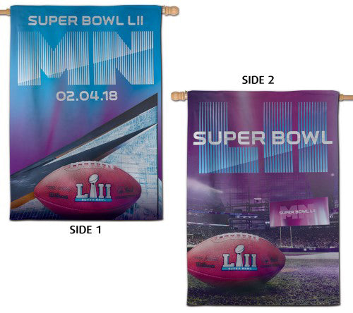 Super Bowl LII (Minnesota 2018) Official 2-Sided NFL Event Banner Flag - Wincraft Inc.