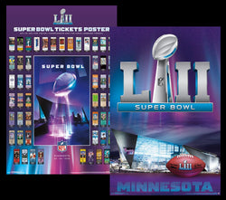 Super Bowl XLII (Minnesota 2018) Official 2-Poster COMBO SET - SUPER TICKETS, Theme Art